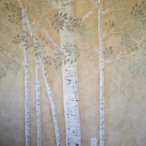 Raised Plaster Aspen Tree Wall