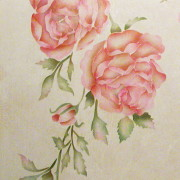 Wall stencil china rose