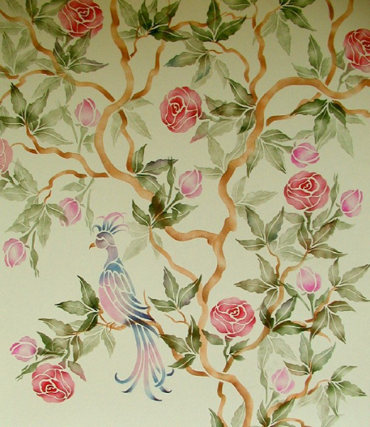 Wall stencil chinese rose tree chinoiserie walls for Chinoiserie design