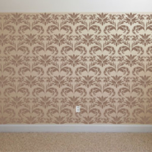 Damask stenciled wall.