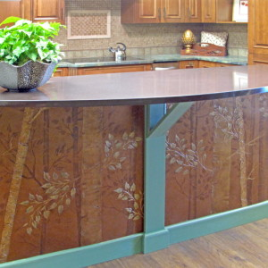 Plaster stencil Aspen Tree in Copper finish