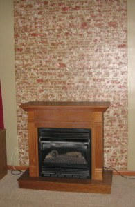 plaster stenciled fireplace