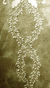 Plaster Stencil Vertical Leaf Frieze