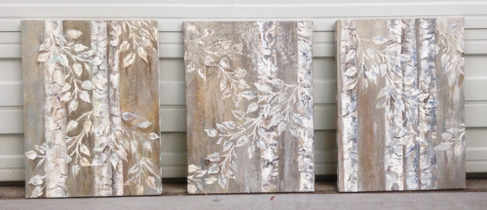 Carol Used Our Raised Plaster Aspen Tree Stencil Set To Create A Trio Of  18u2033 X 24u2033 Canvases To Use As Wall Art. Her Plan Is To Frame Them In Silver  Textured ...