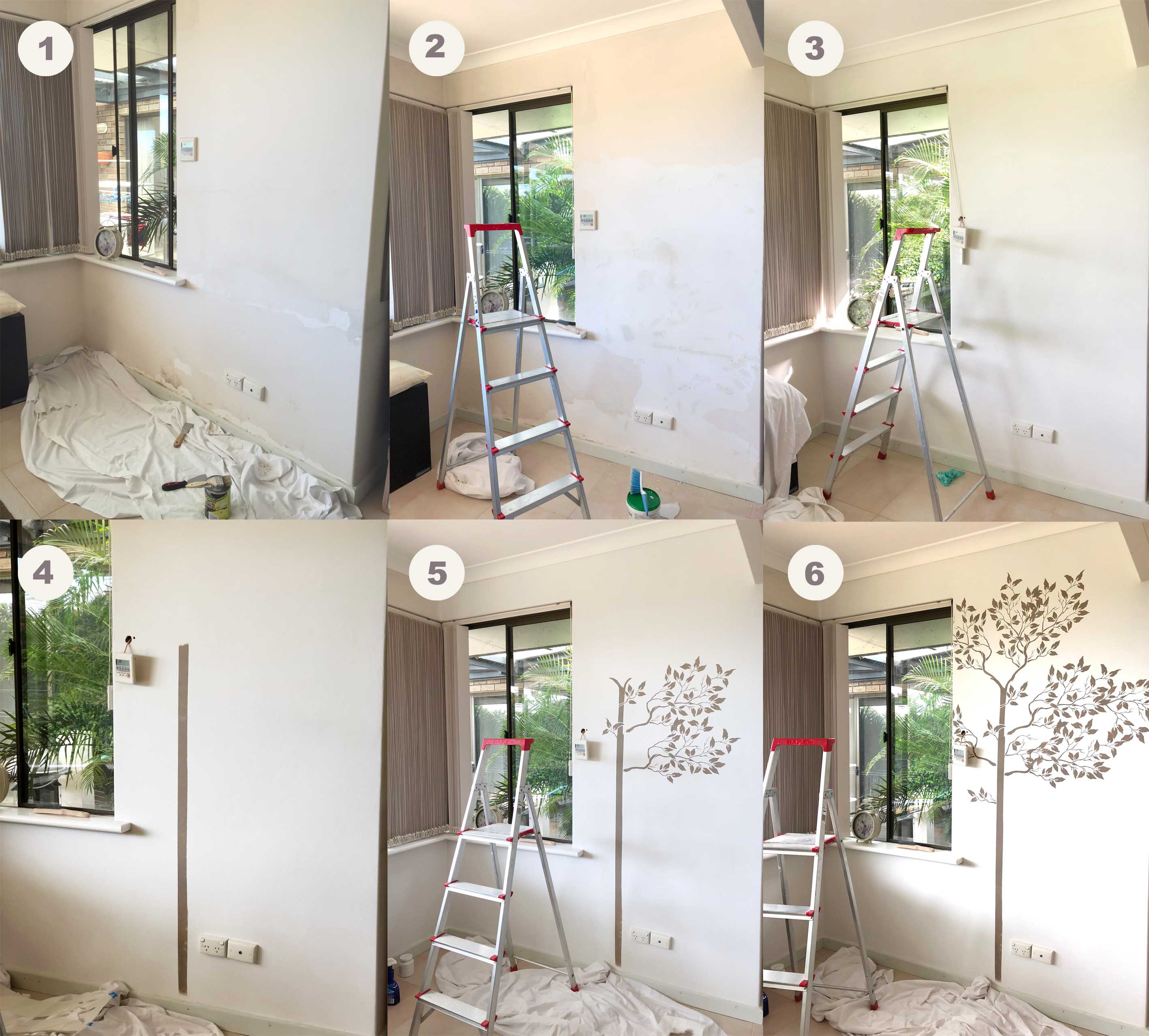 Wall stencil large tree walls stencils plaster stencils collage of process living room wall no logo amipublicfo Choice Image