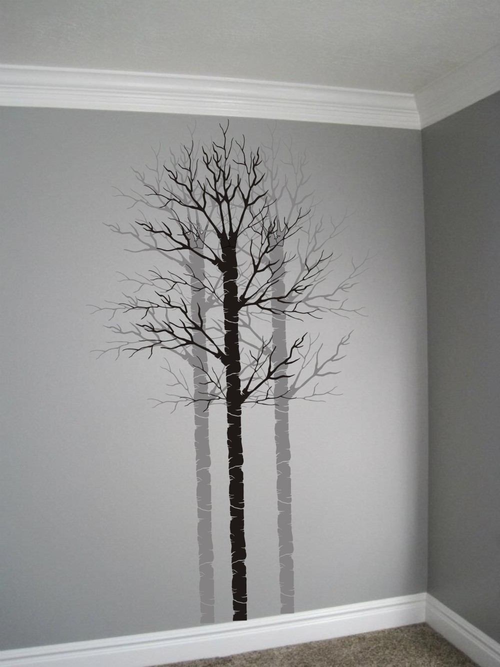 painting stencil bare birch aspen walls stencils. Black Bedroom Furniture Sets. Home Design Ideas