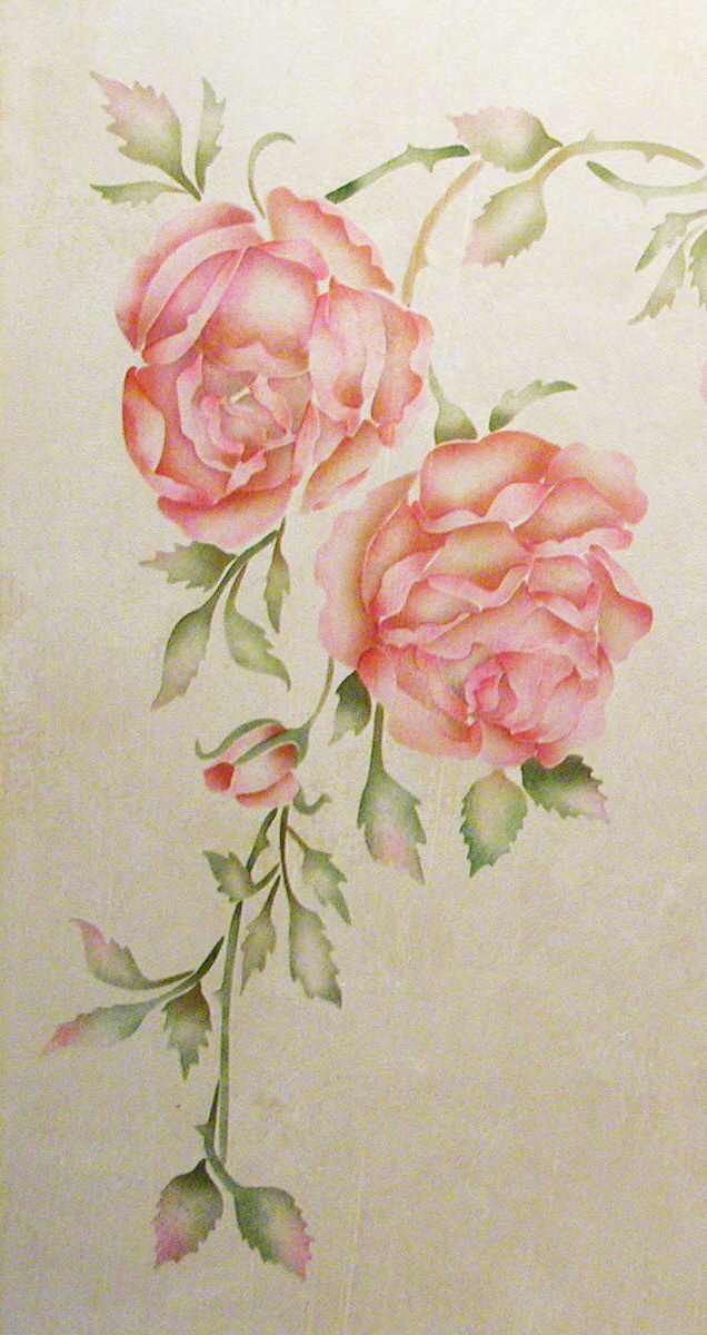 Wall Stencil China Rose Walls Stencils Plaster Stencils
