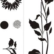 stencil-sunflower-garden-bw-600