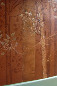 plaster stencil aspen trees close