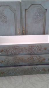 Plaster stenciled chest