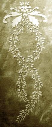Plaster Stencil Vertical Leaf Frieze