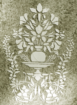 Plaster Stencil Floral Vignette