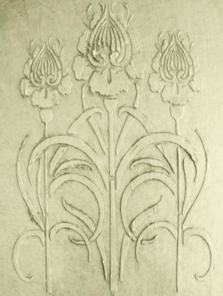 Plaster stencil flores panel
