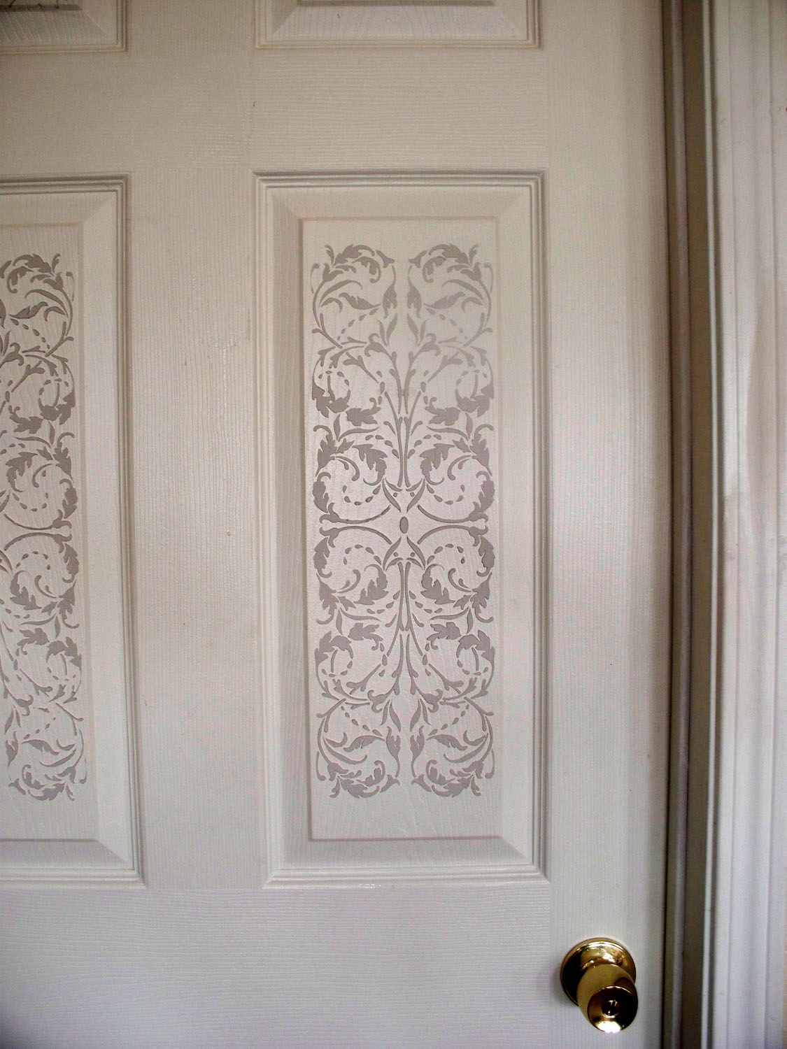 Plaster Stenciling On A 6 Panel Door Creates Unbelievable