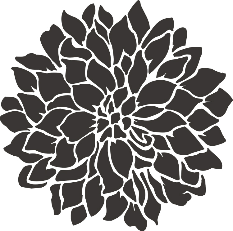 Painting stencil small dahlia flower stencil walls for Printable stencils for canvas painting
